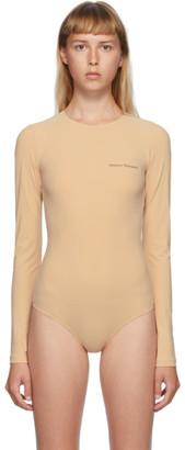 MM6 MAISON MARGIELA Beige Logo Printed Bodysuit
