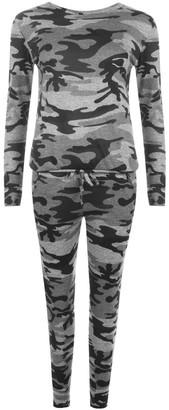 B New Womens Lounge Camouflage Track Suit UK 8-14 (S/M (8-10 UK)
