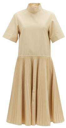 Jil Sander Pleated-skirt Cotton-blend Dress - Ivory