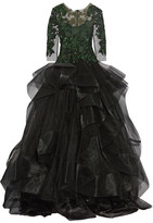 Marchesa Embellished Tulle And Ruffled Organza Gown - Black