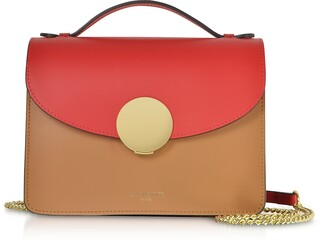 New Ondina Color Block Flap Top Leather Satchel Bag