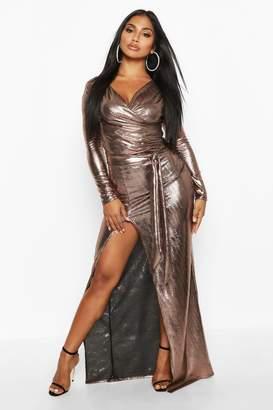 boohoo Metallic Off The Shoulder Split Maxi Dress