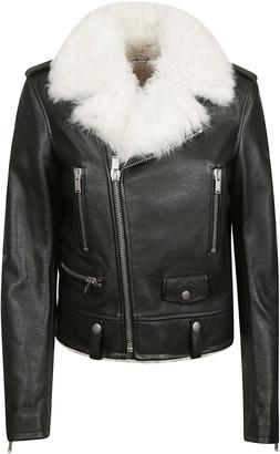 Saint Laurent Furry Collar Zip Biker Jacket