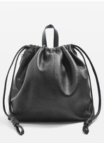 Topshop Leather Drawstring Backpack - Black