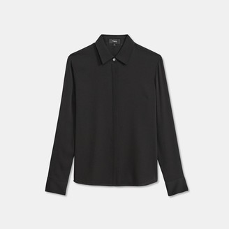 Theory Fitted Shirt in Stretch Silk