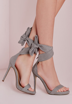 Missguided Ankle Tie Heeled Sandals Grey