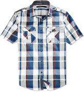 Sean John Men's Plaid Epaulette Short-Sleeve Shirt