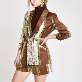 River Island Womens Brown mixed print belted ruched blazer