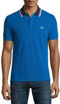Lacoste Striped-Collar Regular-Fit Piqué Polo Shirt, Blue