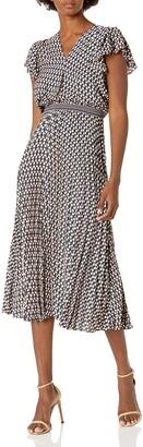Max Studio Women's Flutter Sleeve Pleated Midi Dress