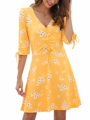 MessBebe Beach Dress Floral Summer Chiffon Sundress V Neck Casual 3/4 Sleeve Pleated Knot Cuff Sexy Elegant Short Dresses for Women Knee Length Blue