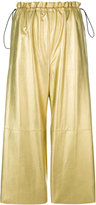 MM6 MAISON MARGIELA metallic cropped trousers - women - Cotton/Polyurethane/Viscose - 40