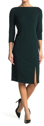 Donna Morgan Boatneck Slit Sheath Dress