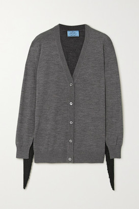 Prada Fringed Wool Cardigan - Gray