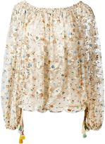Chloé printed lace top - women - Cotton/Polyamide/Acetate/Silk - 44