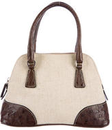 Prada Struzzo e Canapa Mini Bauletto Bag