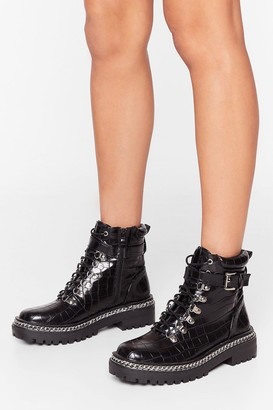 Nasty Gal Womens Third Time Lucky Faux Leather Croc Boots - Black