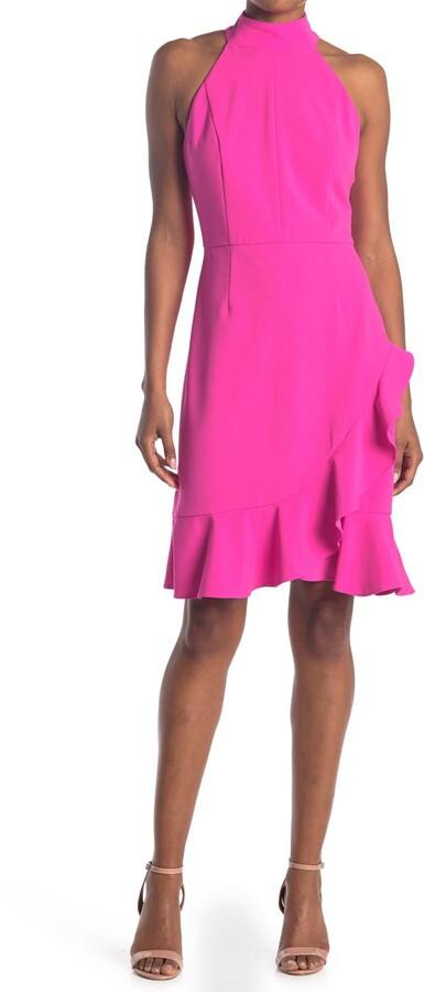Donna Morgan Stretch Knit Crepe Halter Neck Dress