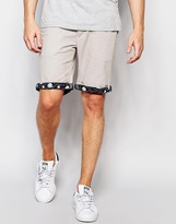 Bellfield Chino Shorts with Contrast Wave Print Turn Up