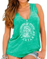 Original Retro Brand Unbranded Womens Michigan State Spartans Forest Green Relaxed Henley Tank Top