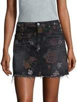 7 For All Mankind Floral Print A-Line Mini Skirt
