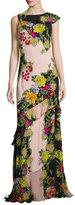 Etro Floral-Print Bias Silk Gown, Pink Pattern