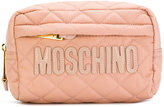 Moschino logo quilt cosmetic case
