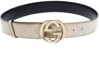 Gucci White Guccissima Leather Interlocking GG Belt Size 95CM