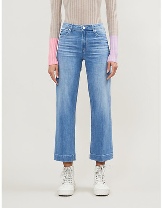Paige Nellie Culotte cropped wide-leg faded high-rise jeans