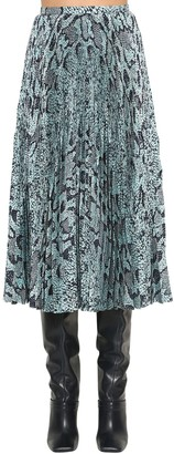 Roberto Cavalli Satin Python Print Pleated Midi Skirt