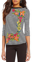 Westbound Petite Boat Neck 3/4 Sleeve Printed Top