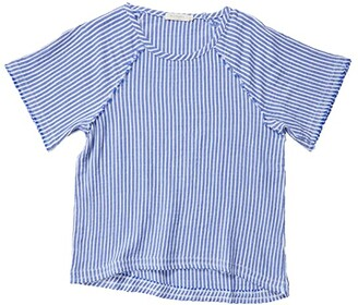 Mod-o-doc Stripe Gauze Raglan Sleeve Tee with Raw Edges (Blue) Women's Clothing