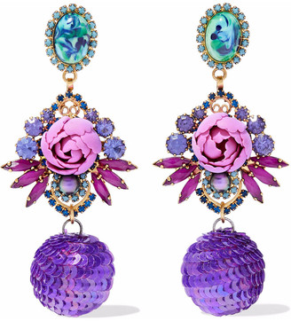Elizabeth Cole Gold-tone, Crystal, Stone And Sequin Earrings