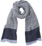 Joe Fresh Women's Print Frayed Edge Scarf, Blue (Size O/S)