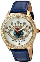 Betsey Johnson Women's Quartz Metal and Leather Watch, Color:Blue (Model: BJ00517-35)