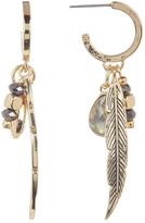 Jessica Simpson Feather, Crystal, & Bead Drop Charm Earrings