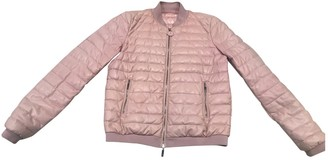 Moncler Pink Leather Coat for Women