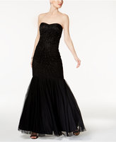 Adrianna Papell Strapless Beaded Tulle Gown