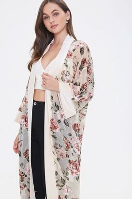 Forever 21 Velvet Rose Print Kimono