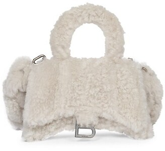 Balenciaga Hourglass Fluffy Faux Shearling Top Handle Bag