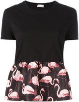 RED Valentino flamingo panel T-shirt - women - Cotton/Polyester - S