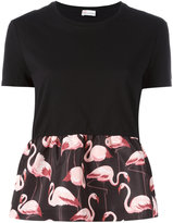 RED Valentino flamingo panel T-shirt - women - Cotton/Polyester - XS