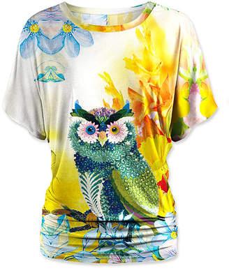Udear UDEAR Women's Blouses Print - Yellow & Blue Owl Dolman Top - Women & Plus