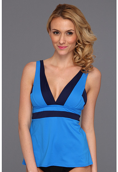 DKNY Color Block V-Neck Tankini w/ Removable Soft Cups