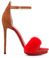 Monique Lhuillier 'Marlowe' sandals - women - Leather/Mink Fur/Suede - 36