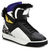 Fendi Monster Fur-Trimmed Leather High-Top Sneakers