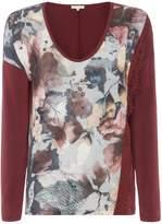 Salsa Long sleeve vneck floral print jersey back tshirt