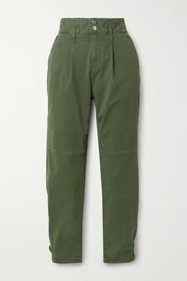 Veronica Beard Monika Stretch-cotton Twill Tapered Pants - Army green