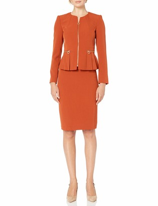 Tahari ASL Women's Peplum Zipper Jacket with Pencil Skirt