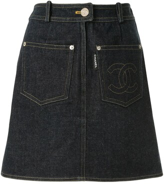 Chanel Pre Owned 1996 Straight Denim Skirt
